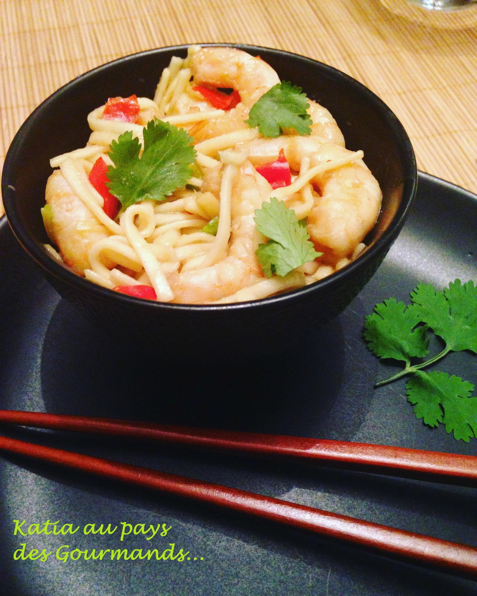 Nouilles asiatiques aux crevettes