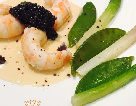 Langoustines / caviar / légumes de printemps
