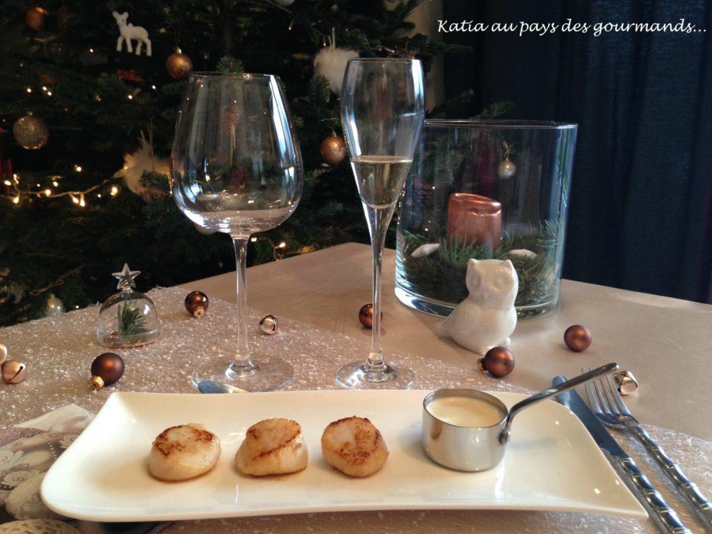 St Jacques poelées sauce champagne