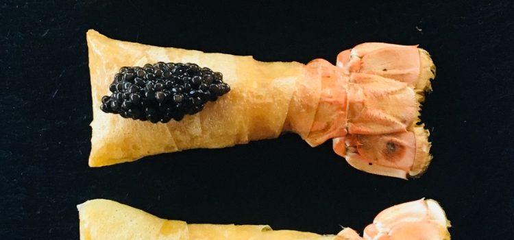 Langoustines croustillantes au caviar